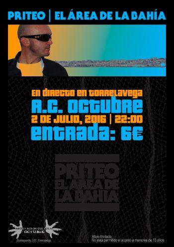 Cartel de la presentación en Torrelavega de El Área de la Bahía
