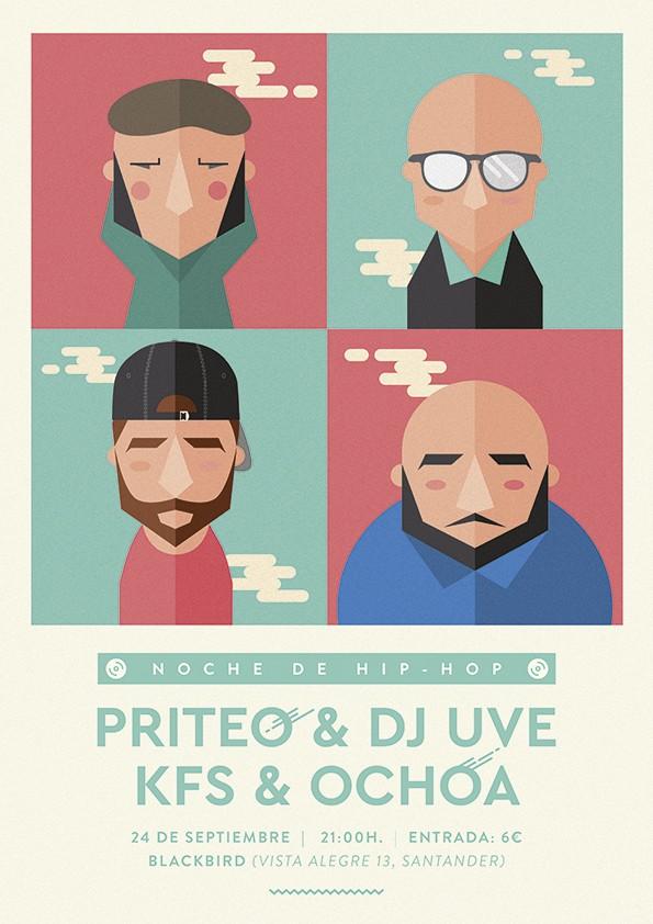 Cartel del concierto de Priteo & UVE con KFS & Ochoa en Black Bird