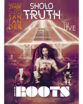 Cartel de la fiesta de Sholo Truth y DJ UVE en sesión.