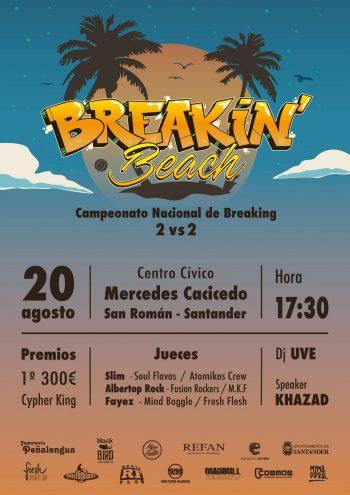 Cartel de Breakin' Beach, campeonato nacional de breaking en Santander