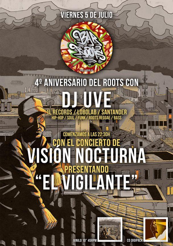 Cartele de la sesión de DJ UVE y concierto de Visión Nocturna en Valladolid