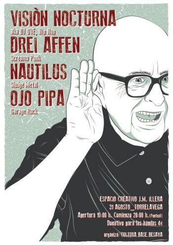 Cartel de la presentación de El Vigilante de Visión Nocturna en Torrelavega junto a Drei Affen, Nautilus y Ojo Pipa.