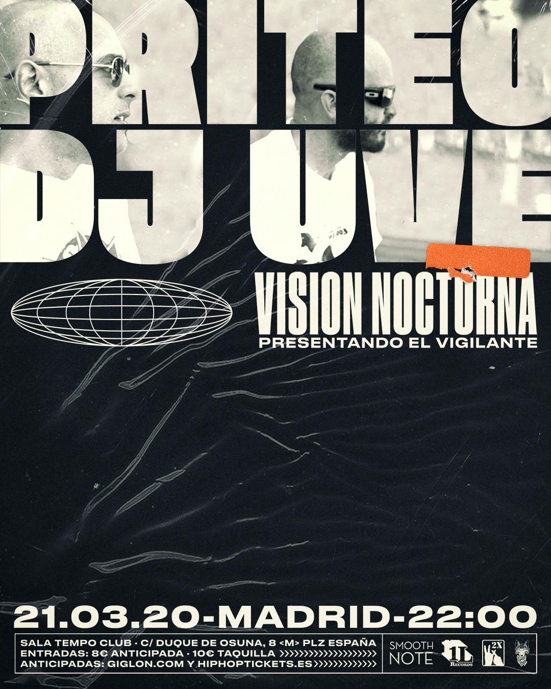 Cartel del concierto de Priteo y DJ UVE en Sala Tempo, Madrid