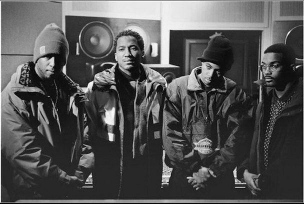De derecha a izquierda, DJ Premier, Q-Tip y Large Professor